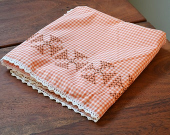 Vintage Embroidered Pink Gingham Tablecloth, Country Checkered Shabby Chic,  Square Tablecloth, Farmhouse Decor