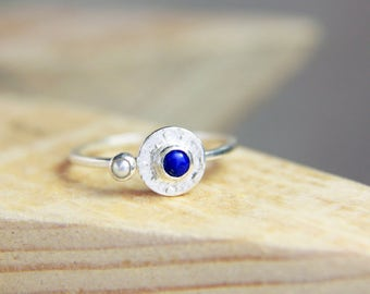 Lapis Ring, Tiny Lapis Lazuli and Pearl Ring, Small Silver Lapis Pearl Ring