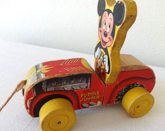 """Mickey Mouse Fisher Price """"Puddle Jumper"""" Car Pull-Toy, Vintage Wooden Disney Collectible, Two Part, 1950s 125-185 Value Train Transporation"""