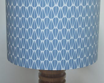 Handmade drum lampshade - repeated symmetrical Scandinavian inspired leaf patterned fabric- violet grey and white