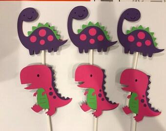 12 girl dinosaur cupcake toppers