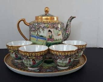 Vintage Chinese Tea Set - Hand Painted Mid Century Modern Tea Service Set
