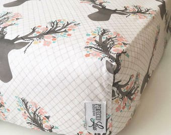 Floral Deer | Standard Crib Sheet | Woodland Nursery | Baby Girl Bedding | Mint & Coral