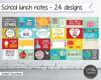 lunch box notes - school lunch prints - instant download - printable digital file - back to school - 24 notes - for kids