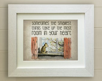 FRAMED Winnie the Pooh QUOTE PRINT, New Baby/Birth Nursery Picture Gift, Pooh Bear, Framed or just mounted, Choice of 3 frames, Fab Gift