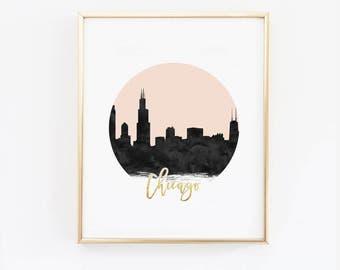 Chicago Print - Chicago Skyline - Black and Pink - Faux Gold Foil - Art Poster - Skyline Prints - Skyline Watercolor - Custom Color