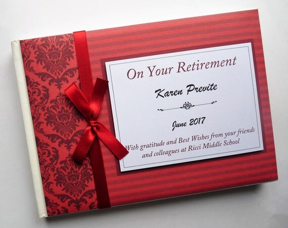 Personalised retirement wedding occassion guest book red for J bathrooms westcliff