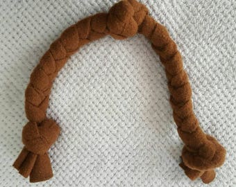 Braided dog toy made of upcycled wool for the large and extra large dog. 28 in. long, 1 1/2 inches wide at braid, 2 inches wide at 3 knots