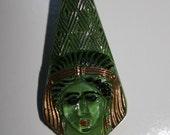 Green Czech Glass Pharaoh Buttons, Large