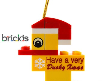 LEGO® engraved duck personalised ornament for Christmas for the Xmas tree made with LEGO® bricks
