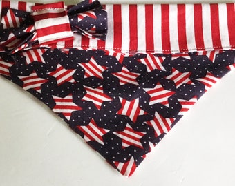 Stars and Stripe Patriotic Bandana  for Dogs and Cats- Embroidered and Unembroidered