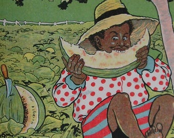 Antique African American Style Children's Print 1914 - Boy Helping Himself to Melon from Farmer's Field - C K Cook - Matted - Ready to Frame