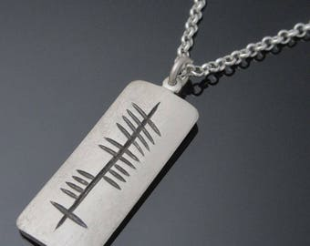 Personalised Ogham Pendant -  Handmade in Ireland - Sterling silver - Free shipping worldwide