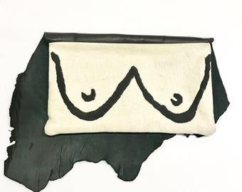 Boob Clutch, Boob Handbag, Feminist Clutch, Black Leather Bag