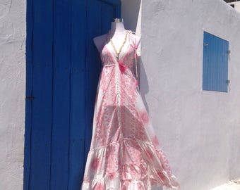 Pink and white boho dress