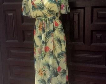 Tropical print long dress