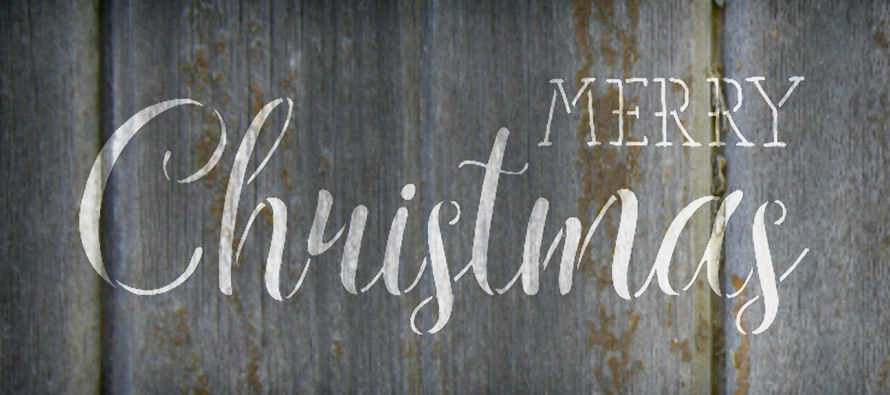 Merry Christmas - Trendy Rustic Script - Word Art Stencil - Select Size - STCL1397 - by StudioR12