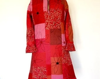 Flower Power patchwork shirt dress in a UK size 10.