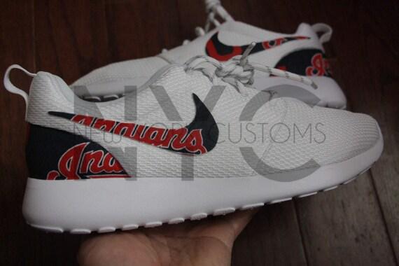 4e8841a0bf2 delicate Cleveland Indians Nike Roshe One Run Triple White Custom ...
