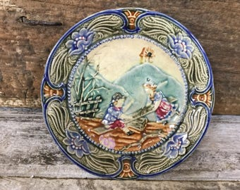 Antique French  Barbotine Majolica en Faïence Plate With Childfen Playing with Mountains and Garden