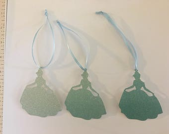 12 cinderella tag glitter frosty blue cardstock 3 inches tall