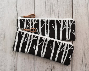 Pen case dark grey fabric printed by hand with Woods, white printing