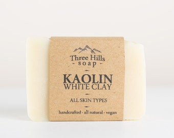 Kaolin White Clay Soap-All Skin Types,Unscented Soap,Natural Soap, Handmade,Vegan Soap,Palm Free Soap,Clay Soap,Cold Process Soap