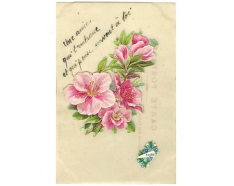 Embossed Die-Cut Celluloid OOAK Postcard, French Antique one-of-a-kind Friendship Cardl, Green Pink Flowers