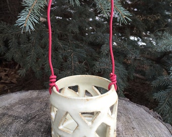 White Ceramic lantern, pottery candle holder, hand carved stoneware