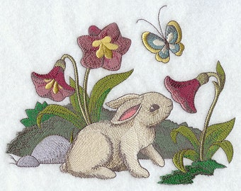 BUNNY RABBIT & FLOWERS Scene Realistic Outdoor Motif Machine Embroidered Quilt Square, Art Panel