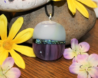 Handmade Fused Glass Necklace Pendant - Fused Glass Necklace - Glass Pendant - Dichroic Glass