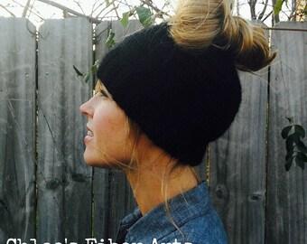 Giddy-up & Go Beanie, messy bun beanie, messy bun hat, ponytail beanie