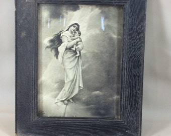 1899 framed picture of woman and child in original frame