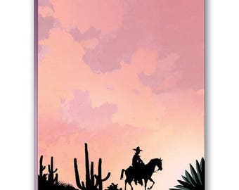 Cowboy and Desert Sunset Note Pad - Cowboy Notepads - 35031