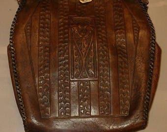 Antique Art Deco Nouveau Arts Crafts Flower Tooled Brown Leather Purse-Turnloc