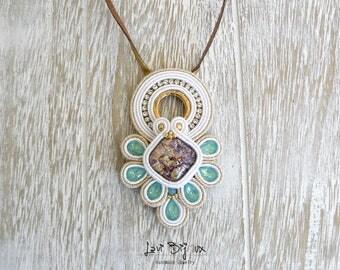 Soutache necklace, Handmade necklace, Hand Embroidered, necklace, Soutache Jewelry, Handmade from Italy, OOAK