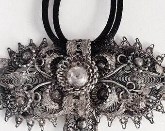 Sterling Silver Pendant, Filigree Pendant, Silver Pendant, Vintage Pendant, Large Silver Pendant, Silver Necklace, Vintage Silver Necklace