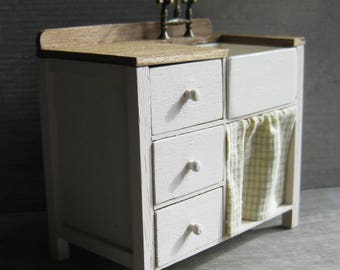1/12th Scale 3-Drawer Sink Unit with Curtain