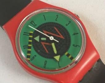 """1986 """"Radar"""" Vintage Ladies Swatch Watch / LR106 / Red Green Retro"""