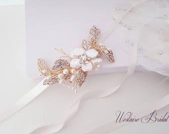 Gold Headband, Gold Bridal Headband, Rhinestone Wedding Headband, Bridal Hair Accessory, Gold Headpiece, Bride Headband