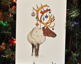 Ornamental Reindeer, Christmas Card, Christmas Reindeer, Eco Friendly, 100% Recycled Materials