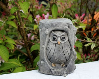 Owl in a Tree, Owl Lawn Decor,Stone Garden Ornament, Made in Cornwall,  Cornwall Stoneware, Garden Gift, Outdoor & Gardening, Home