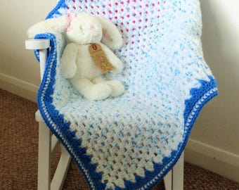 Handmade Crochet Baby Blanket,64 x 71cm/25 x 28 inches in shades of turquoise and blue with a blue aster border, Stroller/Pram Blanket