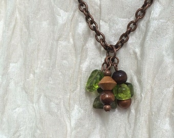 Copper chain with green beaded cluster pendant