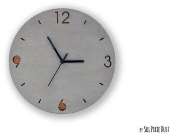 Concrete and Wood Circle - TYPE 1 Wall Clock  - Modern Wall Clock
