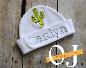 Personalized Baby Cactus Newborn Hat - Appliqued Newborn Hat -  embroidered - Newborn Hat - Infant Hat - Baby Hat - Hospital Hat