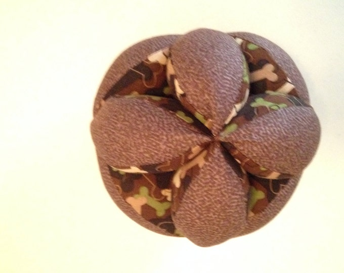 Super Soft Montessori Ball. Camo Dog Bone Print Clutch Ball. Sensory Learning Toy. Soft Fabric Ball, Safe for indoor Kid's and Baby Play