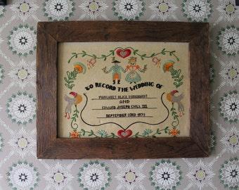 Vintage Sampler, Framed Sampler, 1972 Wedding Sampler, Pennsylvania Dutch Sampler, Cross Stitch Picture, Embroidery Picture