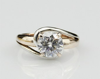 Moissanite Ring, 1.5 CT Round Color DEF Moissanite Solitaire Ring, 14k Two Tone Gold Engagament Ring (CFR0158-ESMS1.5CT)
