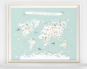 Animal world map, instant download, map nursery art, my first map, map of the world, world map, animals around the world, animal print